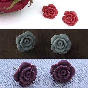 Style 2 Earrings Titanium Post Matte Rose Flower